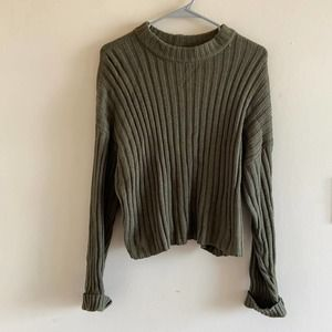American Eagle Ribbed Crop Sweater